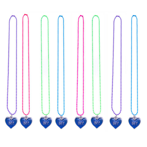 MD387N Set of 2 BFF Mood Glitter Heart Colored Ball chain Necklaces - 12 Sets Assorted