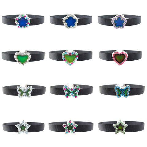 MD388N Mood Rhinestone Ribbon Choker - 12 Pcs Assorted