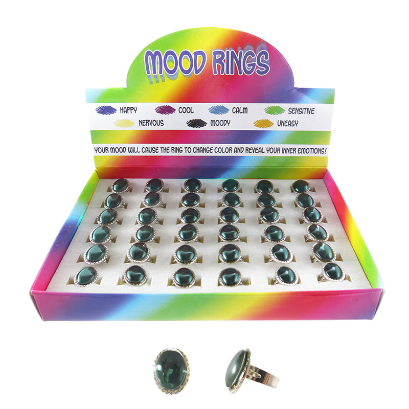 MD389DR Mood Oval Adjustable Rings - 36 pcs Tray Unit