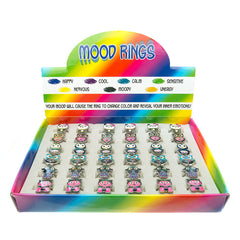 MDD224RX Mood Critters Adjustable Glitter Rings - 36 pcs Tray Unit