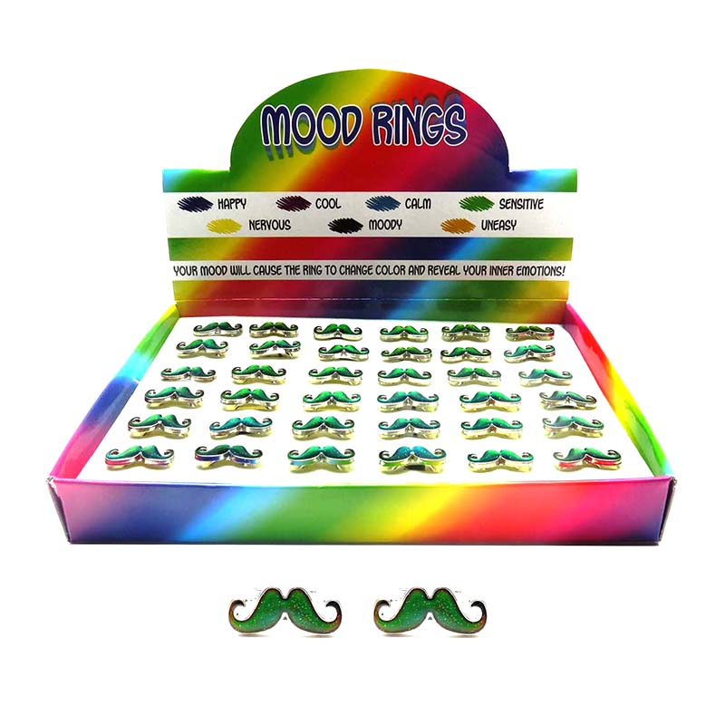MDD228R Mood Mustache Glitter Charm Adjustable Rings - 36 pcs Tray Unit