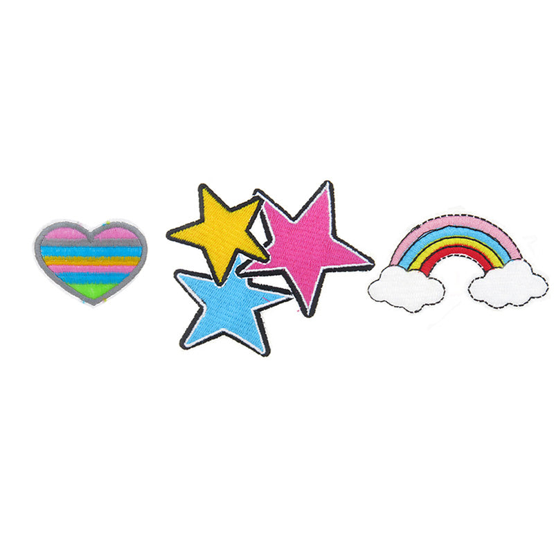 PA2000C-1 DIY Iron On Patches Hearts, Stars, Rainbow - 6 Pcs Pack Unit