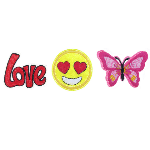 PA2100C-1 DIY Iron On Patches Love, Heart Emoji, Butterfly - 6 Pcs Pack Unit