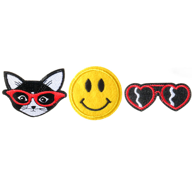 PA2110C-1 DIY Iron-On patches Cat, Smiley, Sun Glasses 6 Pcs Pack Unit