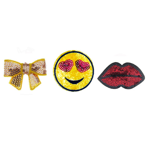 PA2140C-2 DIY Iron-On patches Bow, Sequin Heart Emoji, Lips 6 Pcs Pack Unit
