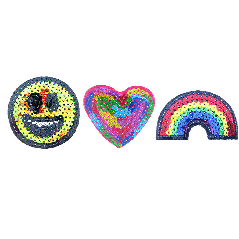 PA2141C-1 DIY Iron-On patches Sequin Smiley, Heart, Rainbow 6 Pcs Pack Unit