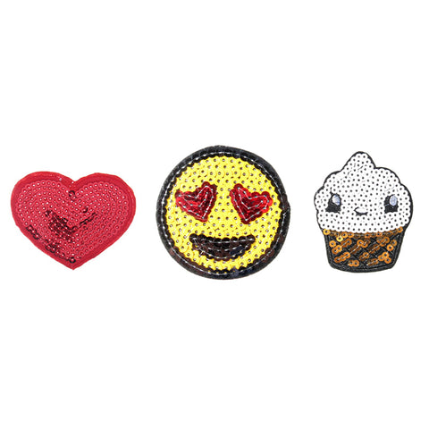 PA2142C-1 DIY Iron-On patches Heart, Sequin Heart Emoji, Ice Cream 6 Pcs Pack Unit