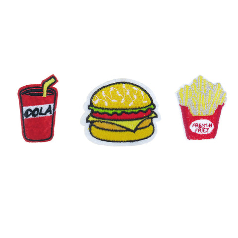PA2250C-1 DIY Iron-On patches Cola, Hamburger, Fries 6 Pcs Pack Unit