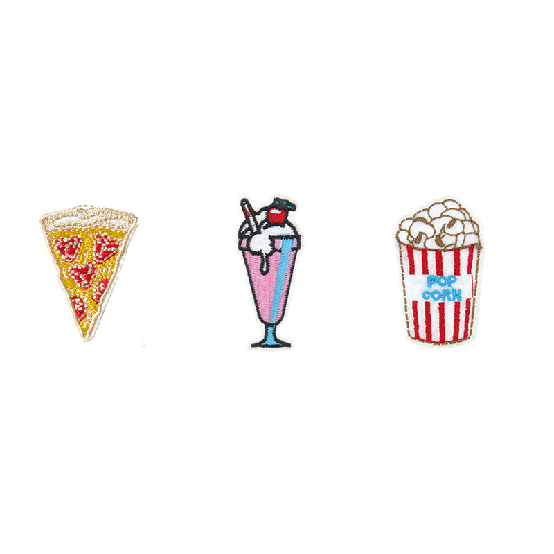 PA2251C-2 DIY Iron-On patches Pizza, Shake, Pop Corn 6 Pcs Pack Unit