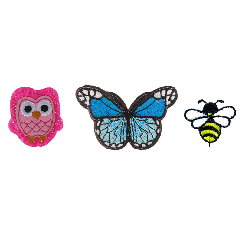 PA2300C-1 DIY Iron-On patches Owl, Butterfly, Bee 6 Pcs Pack Unit