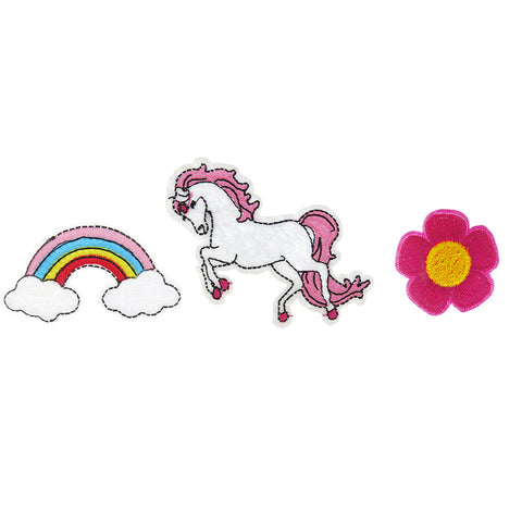 PA2305C-1 DIY Iron-On Patches Rainbow, Unicorn, Flower 6 Pcs Pack Unit