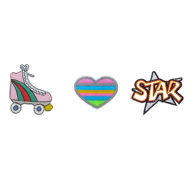 PA2350C-2 DIY Iron-On Patches Skate, Heart, Star 6 Pcs Pack Unit