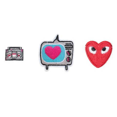 PA2351C-1 DIY Iron-On Patches Boom Box, TV, Heart 6 Pcs Pack Unit