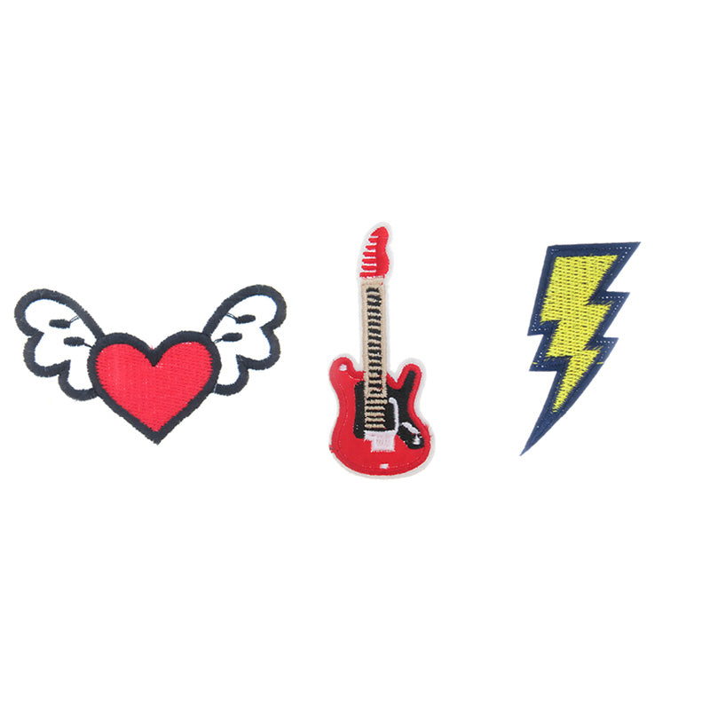 PA2375C-1 DIY Iron-On Patches Heart, Guitar, Lightning Bolt 6 Pcs Pack Unit