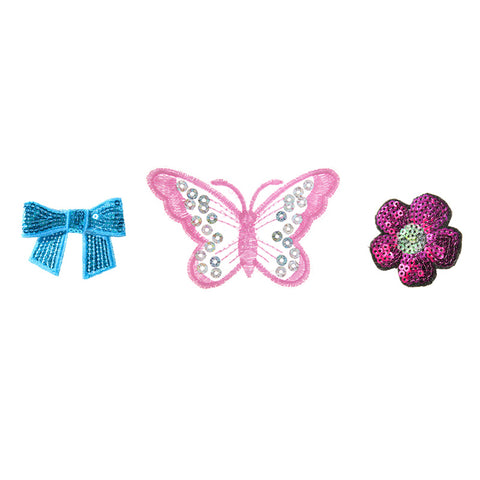 PA2450C-1 DIY Iron-On Patches Bow, Butterfly, Flower 6 Pcs Pack Unit