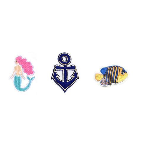PA2502C-2 DIY Iron-On Patches Mermaid, Anchor, Fish 6 Pcs Pack Unit