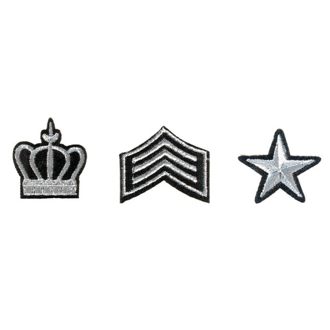 PA2520C-1 DIY Iron-On Patches Crown, Army Stripes, Star 6 Pcs Pack Unit