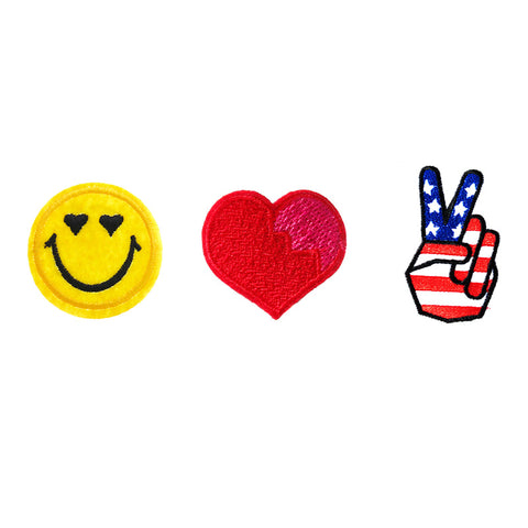 PA2560C-2 DIY Iron-On Patches Smiley, Heart, Victory 6 Pcs Pack Unit