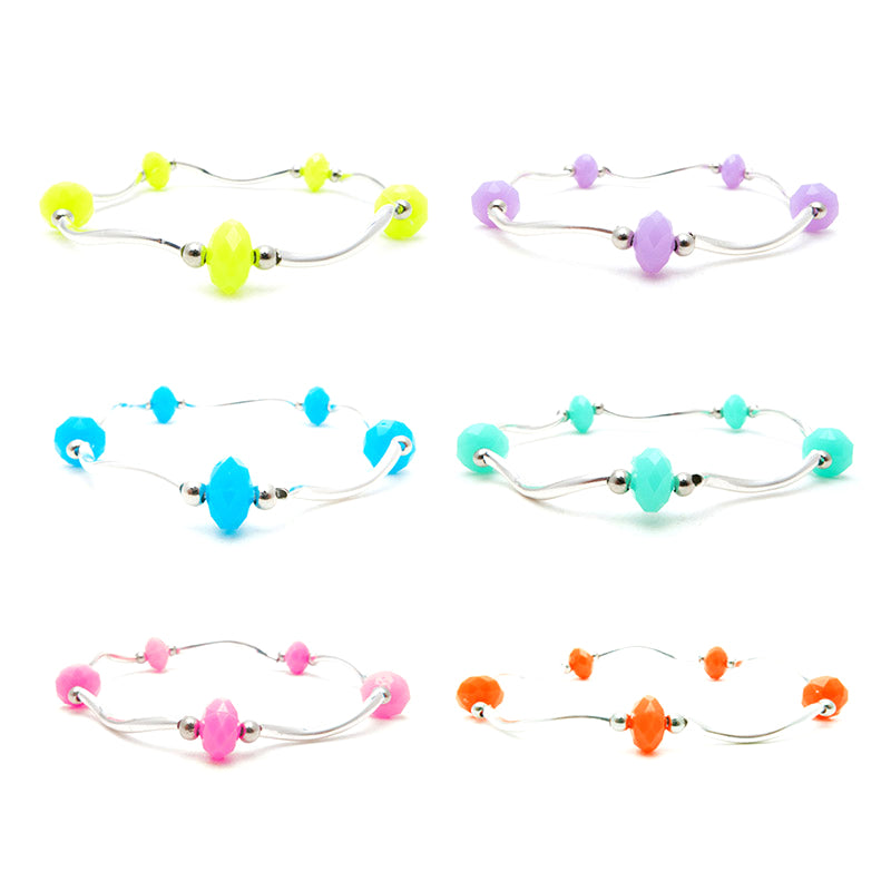 RFB1267B-1 Spiral Stretch Bracelet With Neon Faceted Beads - 12 pcs Pack Unit
