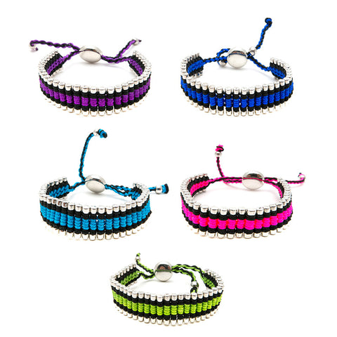 RFB944B Colored Cord Wrapped Silver Beads Bracelet - 12 pc Pack Unit