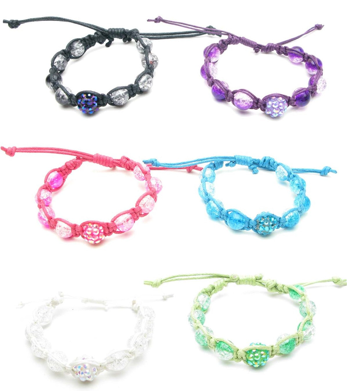 RFB967B Disco balls & Glitter Beads Braid 2mm Cord Bracelets - 12 Pcs Pack Unit