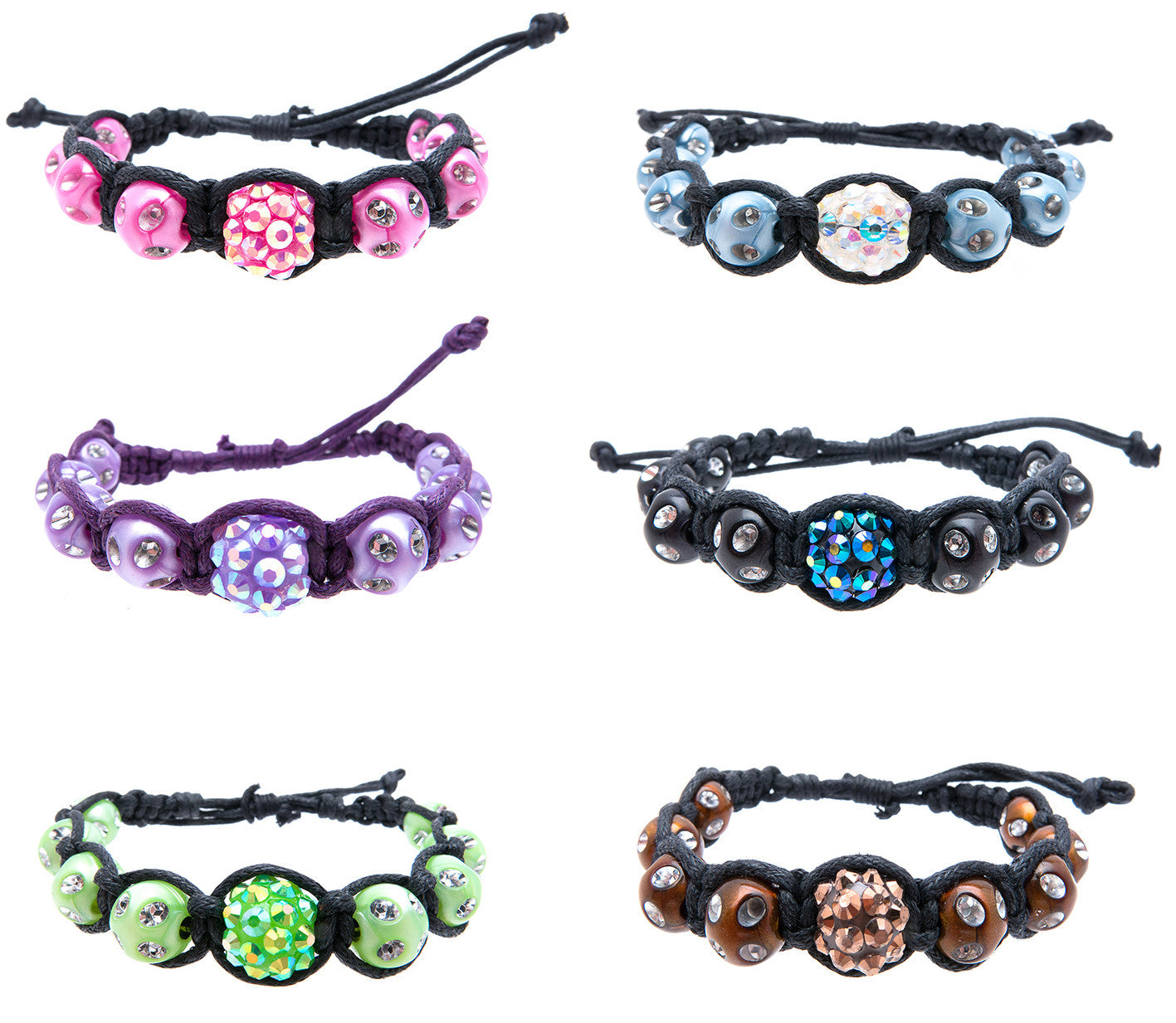RFB968B Disco Balls & Color/Silver Beads Braid 2mm Cord Bracelets - 6 Pcs Pack Unit