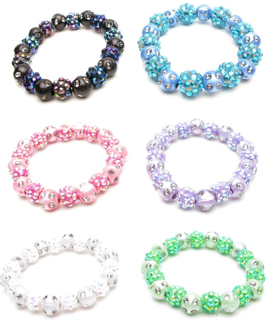 RFB970B Disco Balls & Colored/Silver Beads Stretch Bracelet - 12 Pcs Pack Unit
