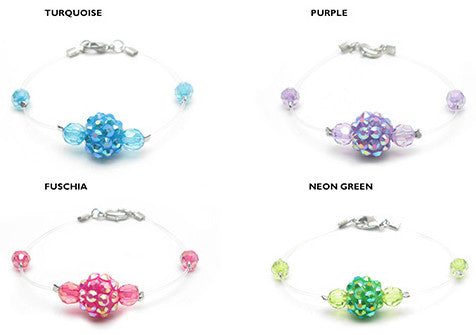 RFB996BB ''Illusion'' Disco Ball & Faceted Beads Transparent Cord Bracelet - 6 Pc Pack Unit