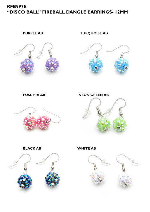 RFB997E Disco Ball 12mm Dangle Earrings - 12 Pcs Pack Unit