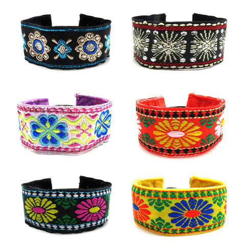 RFC1179B Bohemian Embroidered Col Glitter Bracelet - 12 Pc Pack Unit
