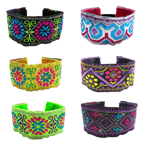 RFC1181B Bohemian Embroidered Glitter Bracelet - 12 Pc Pack Unit