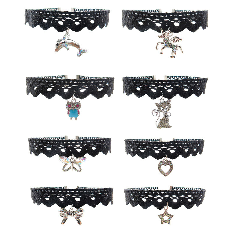 RFC1706N Rhinestone Pendant Lace Chokers - 12 Sets Unit Pack