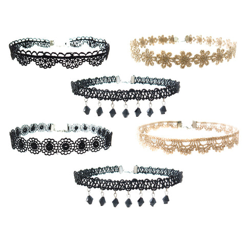 RFC1711N Set of 3 Lacy Black And Metallic Chokers - 12 Sets Unit Pack