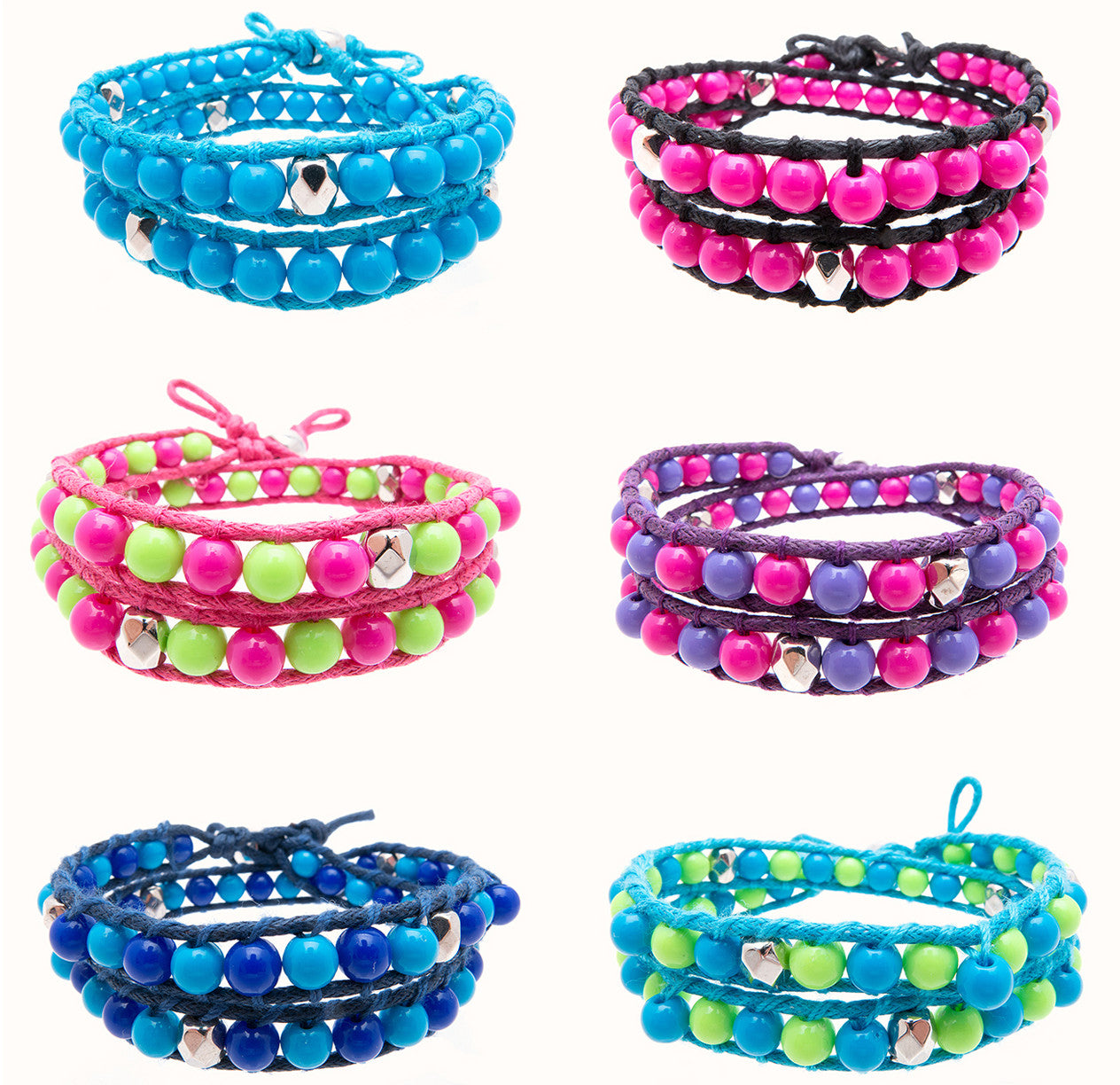 RFC927B Wrap Around Bracelet with 6mm colored & silver faceted beads - 12 Pcs Pack Unit