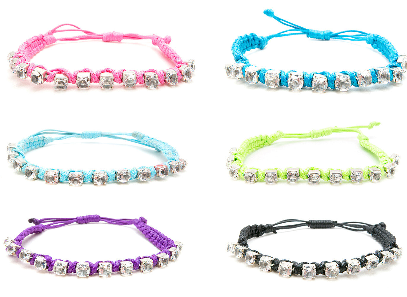 RFC938B Rhinestone Braid Cord Adjustable Slip-Knot Bracelet - 12 Pcs Pack Unit