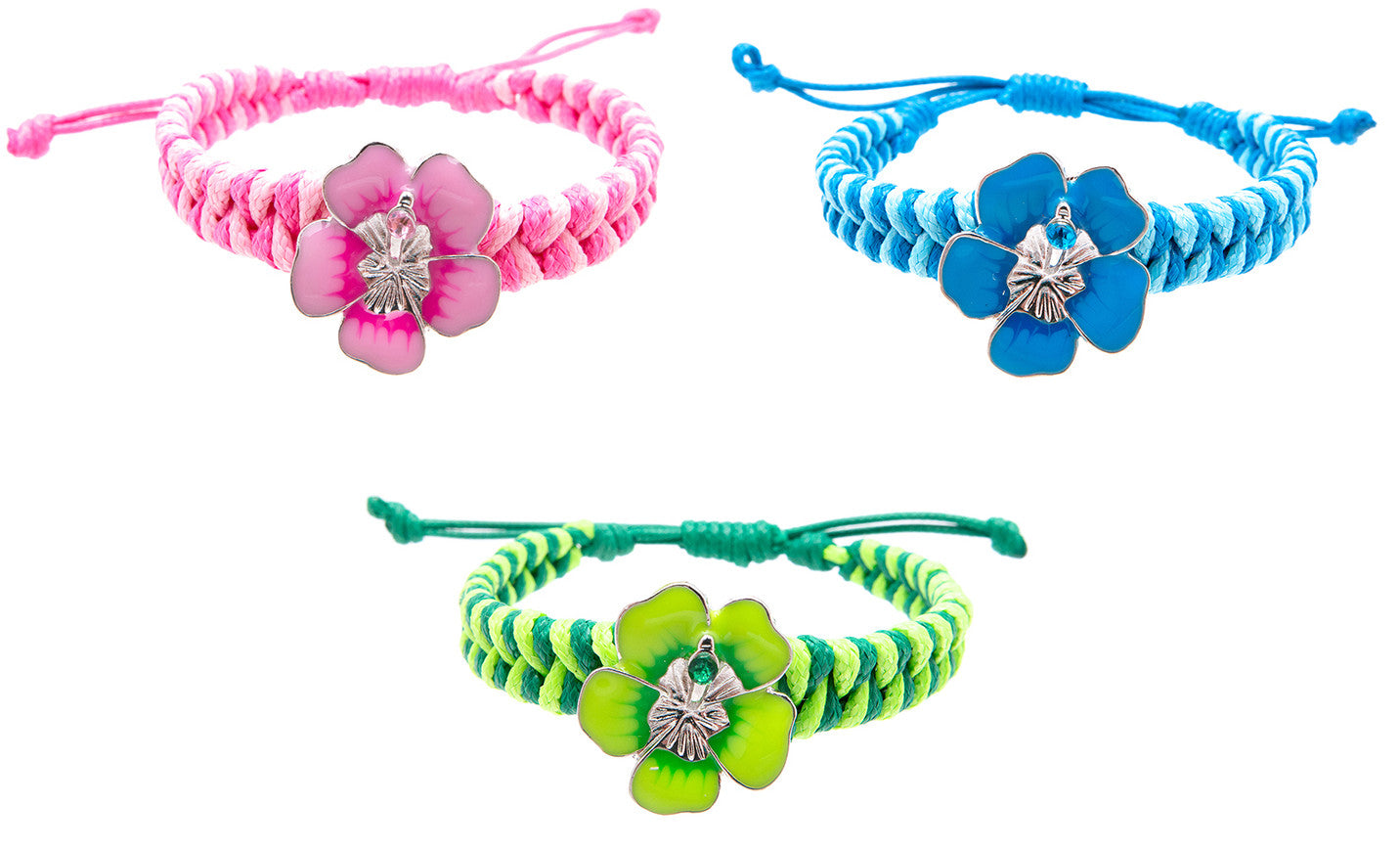 RFC940B-8 Tie-Dye Hibiscus Flower With Stone Braided Adjustable Bracelet - 12 Pcs Pack Unit
