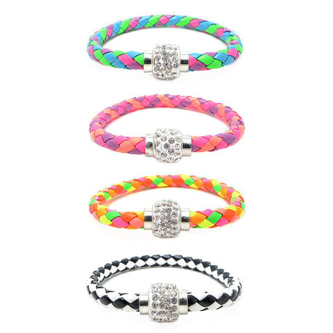 RFL1245B Bling Woven Magnet Closure Bracelet - 12 Pcs pack Or 36 Pcs Tub