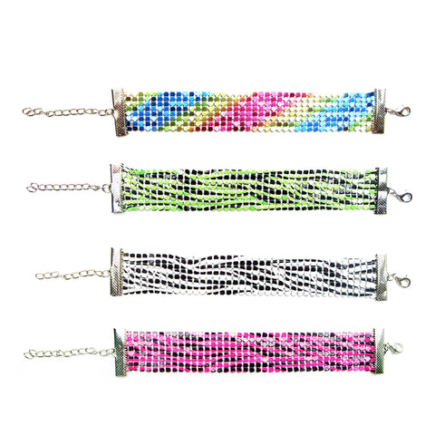 RFM1037B Metal Mesh Printed Bracelet - 12 Pc Pack Unit