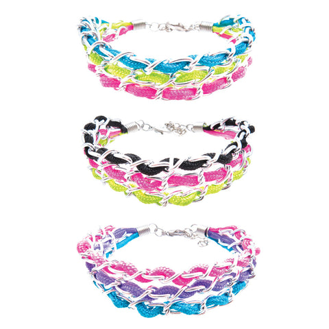 RFM1102B 3 Row Colored Cord Silver Chain Bracelet - 12 pc Pack Unit