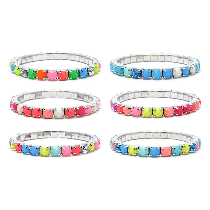 RFM1265B Neon 6mm Faceted Stones Stretch Bracelet - 12 Pc Pack Unit