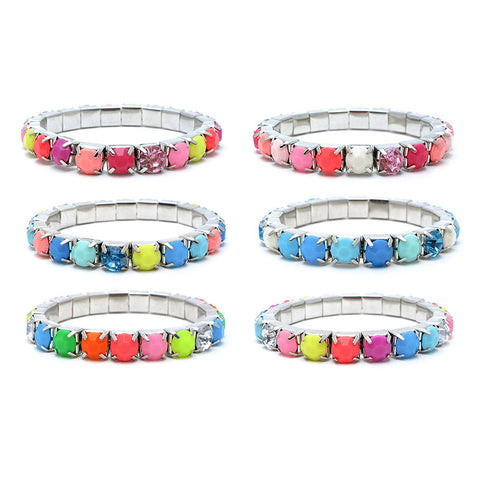 RFM1266B Neon 8mm Faceted Stones Stretch Bracelet - 12 Pc Pack Unit