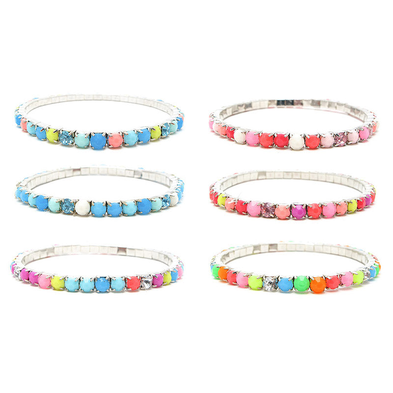 RFM1268B Neon 4mm Faceted Stones Stretch Bracelet - 12 Pc Pack Unit
