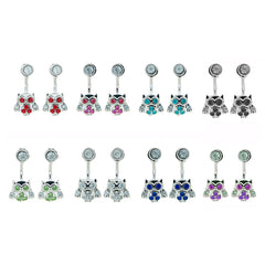 RFM1589E Daisy/Owl Rhinestone Front and Back Earrings
