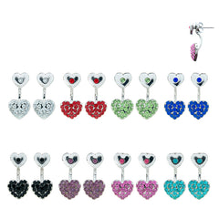 RFM1590E Heart/Star/Butterfly Rhinestone Front and Back Earrings