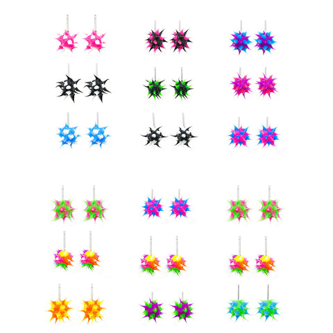 SIL1033E Trio Spiky Silicone Stud Earrings - 12 Trio Sets Pack Unit