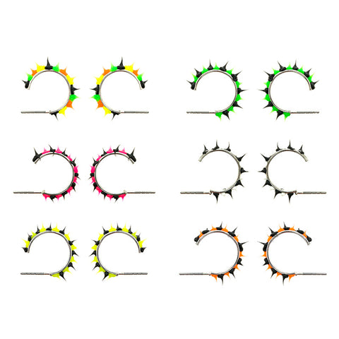 SIL1036E Spiky Silicone 14mm Hoop Earrings - 12 Pairs Pack Unit