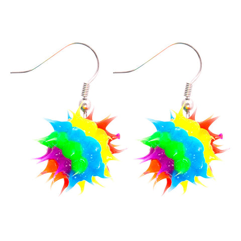 SIL1049E Rainbow Spiky Silicone Ball Dangle Earrings - 12 pairs Pack Unit