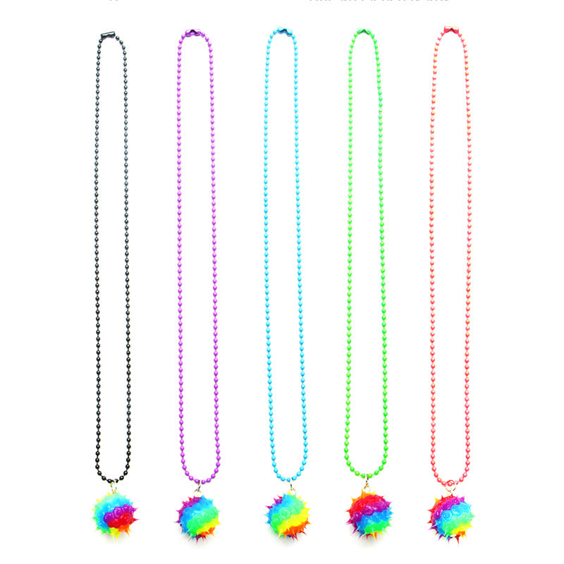 SIL1049N Spiky Silicone Rainbow Ball Chain Necklace - 12 Pc Pack Unit