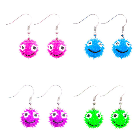 SIL1063E Smiley Spiky Silicone Ball Dangle Earrings - 12 pairs Pack Unit