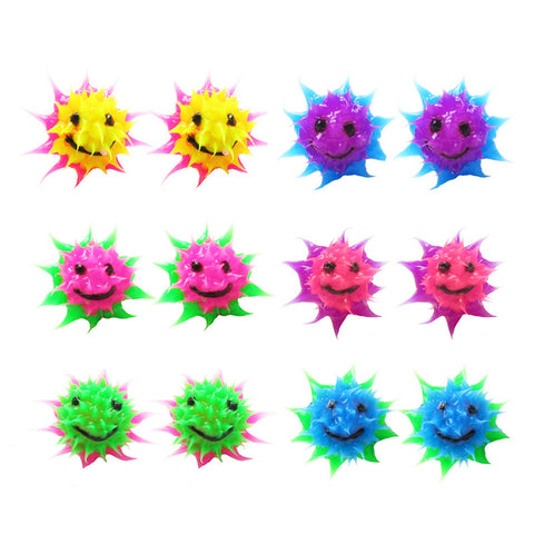 SIL1064E-1 10mm Spiky Silicone Smiley Stud Earrings - 12 Pairs Pack Unit